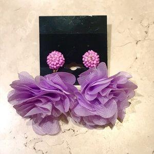 Purple beaded statement earrings NWT